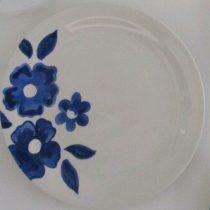 بشقاب سفالی طرح گل آبی