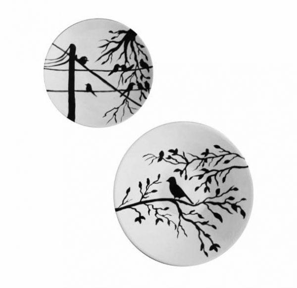 ظروف سفالی سیاه و سفید طرح پرنده