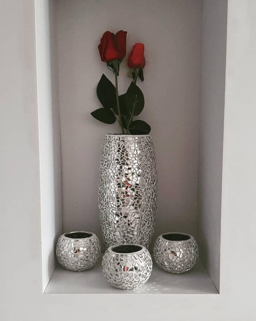 گلدان و شمعدان آینه کاری
